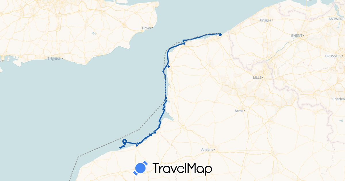 TravelMap itinerary: plane, voilier in France (Europe)